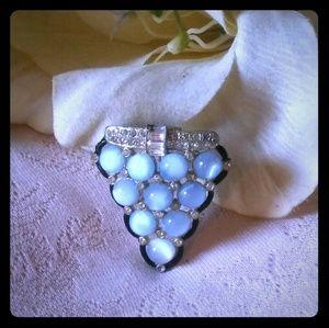 Vintage Blue Moonglow Glass Dress/Scarf Clip